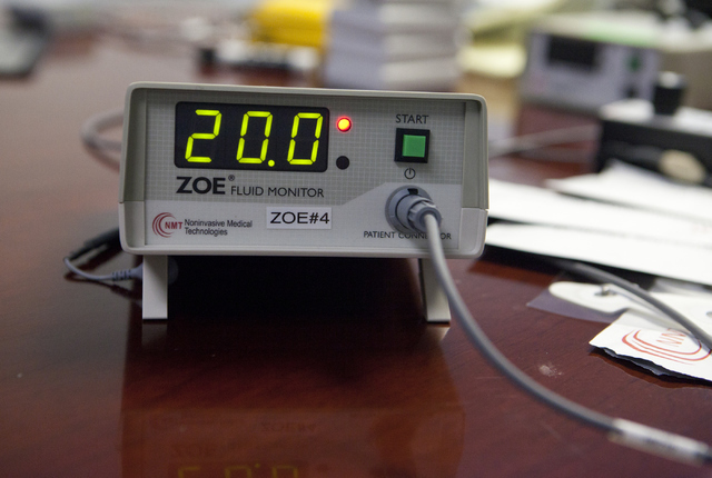 The ZOE Fluid Monitor shown at the Las Vegas-based Noninvasive Medical Technologies Inc. on Thursday, June 7, 2016, investigates the fluid status of NASA crew members during the NASA undersea anal ...