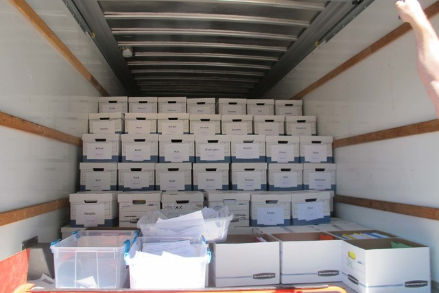 Boxes filled with gambling petition signatures sit in the back of a rental truck outside the Nebraska Capitol on Thursday, July 7, 2016, in Lincoln. (Grant Schulte/AP)