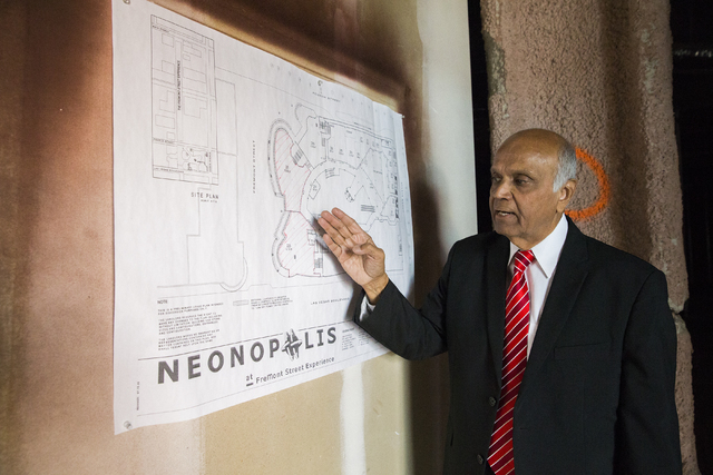 Neonopolis owner Rohit Joshi displays a site plan for the new Italian eatery Fat Papa's on Tuesday, July 12, 2016, in Las Vegas. Benjamin Hager/Las Vegas Review-Journal