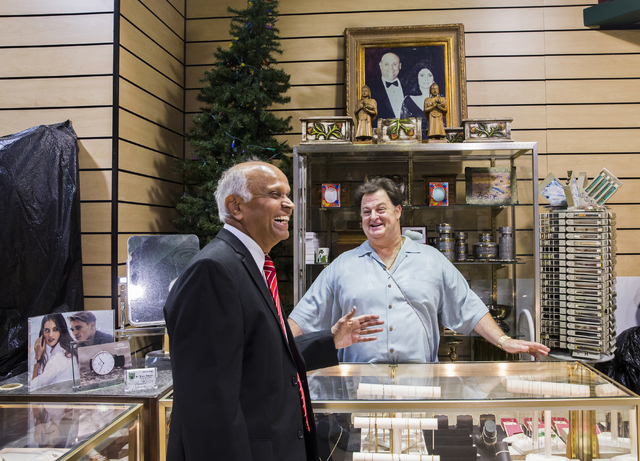 Neonopolis owner Rohit Joshi, left, shares a laugh with John Del Prado, CEO of Del Prado Jewelers, on Tuesday, July 12, 2016, in Las Vegas. Benjamin Hager/Las Vegas Review-Journal