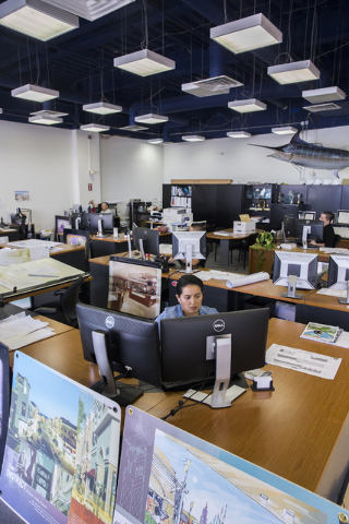Architect's work in Neonopolis' second-floor design offices on Tuesday, July 12, 2016, in Las Vegas. Benjamin Hager/Las Vegas Review-Journal