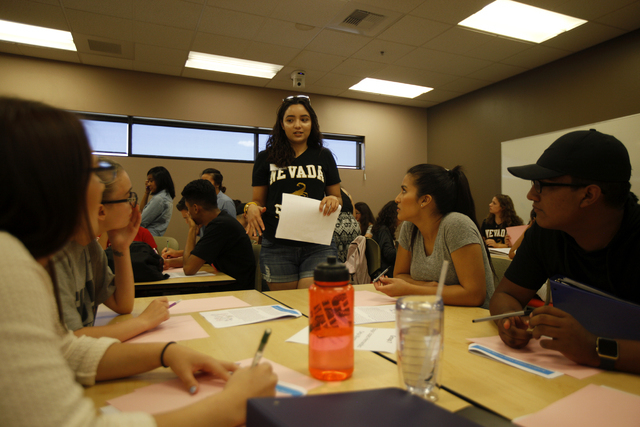 Student mentor Alicia Contreras, center, addresses students during a narrative-approach workshop as part of the Nepantla program on Wednesday, June 29, 2016, at Nevada State College in Henderson.  ...
