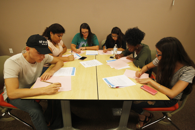 Students in the Nepantla program participate in a narrative-approach workshop on Wednesday, June 29, 2016, at Nevada State College in Henderson. Rachel Aston/Las Vegas Review-Journal Follow @rooki ...