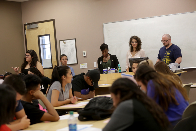 Students in the Nepantla program listen to Professor Leila Pazargadi during a narrative-approach workshop on Wednesday, June 29, 2016, at Nevada State College in Henderson. Rachel Aston/Las Vegas  ...