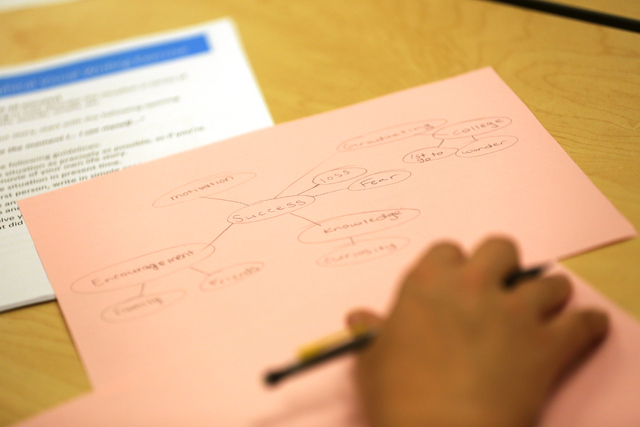 A Nepantla student's written exercise is seen on Wednesday, June 29, 2016, during a narrative-approach workshop at Nevada State College in Henderson. Rachel Aston/Las Vegas Review-Journal Follow @ ...