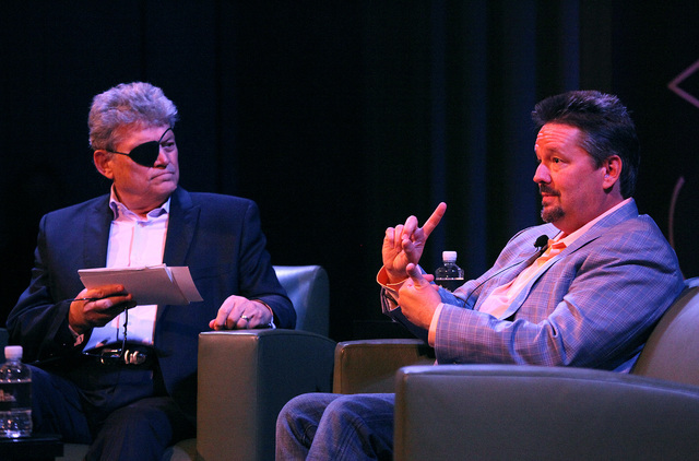 "Las Vegas Review-Journal Columnist Norm Clarke, left, interviews Strip headliner Terry Fator during the first ""Conversations with Norm"" in the Cabaret Jazz Theater at the Smith Center in Las Vegas ..."