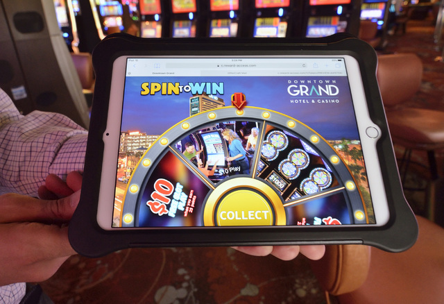 Aron Ezra, CEO of OfferCraft, demonstrates the company's software at the Downtown Grand hotel-casino at 206 N. 3rd St. in Las Vegas on Thursday, June 16, 2016. Bill Hughes/Las Vegas Review-Journal