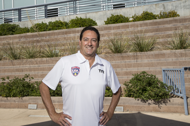 Joseph Peila of Henderson, who is traveling to the Summer Olympics on Aug. 1 to referee the water polo competition, is photographed at the Henderson Multigenerational Pool on Tuesday, July 26, 201 ...