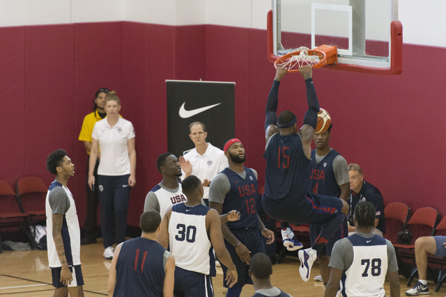 Forward Carmelo Anthony (15), dunks the ball during a USA men's basketball Olympic team practice at UNLV's Mendenhall Center in Las Vegas Tuesday, July 19, 2016. (Jason Ogulnik/Las Vegas Review-Jo ...