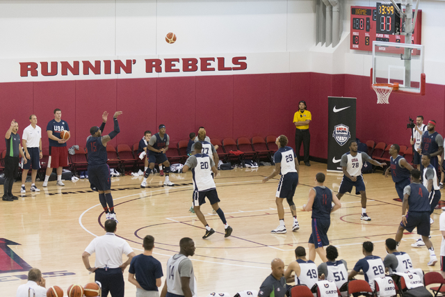 Forward Carmelo Anthony (15) shoots the ball during a USA men's basketball Olympic team practice at UNLV's Mendenhall Center in Las Vegas Tuesday, July 19, 2016. (Jason Ogulnik/Las Vegas Review-Jo ...