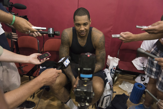 Forward Carmelo Anthony (15) speaks with media during a USA men's basketball Olympic team practice at UNLV's Mendenhall Center in Las Vegas on Wednesday, July 20, 2016. Jason Ogulnik/Las Vegas Rev ...