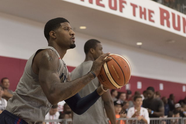Guard Paul George (13) shoots the ball during a USA men's basketball Olympic team practice at UNLV's Mendenhall Center in Las Vegas Thursday, July 21, 2016. (Jason Ogulnik/Las Vegas Review-Journal)