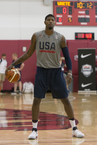 Guard Paul George (13) dribbles the ball during a USA men's basketball Olympic team practice at UNLV's Mendenhall Center in Las Vegas Thursday, July 21, 2016. (Jason Ogulnik/Las Vegas Review-Journal)