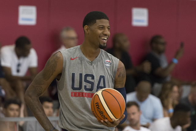 Guard Paul George (13) is seen during a USA men's basketball Olympic team practice at UNLV's Mendenhall Center in Las Vegas Thursday, July 21, 2016. (Jason Ogulnik/Las Vegas Review-Journal)