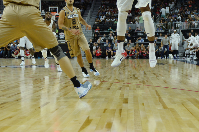 United States' DeMar DeRozan shoots the ball missing one shoe during a U.S. men's basketball team exhibition game versus Argentina on Friday, July 22, 2016 at T-Mobile Arena. (Bridget Bennett/Las  ...