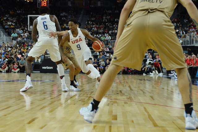United States' DeMar DeRozan handles the ball during a U.S. men's basketball team exhibition game versus Argentina on Friday, July 22, 2016 at T-Mobile Arena. (Bridget Bennett/Las Vegas Review-Jou ...