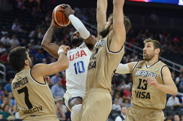 United States' Kyrie Irving goes up for a shot during a U.S. men's basketball team exhibition game versus Argentina on Friday, July 22, 2016 at T-Mobile Arena. (Bridget Bennett/Las Vegas Review-Jo ...