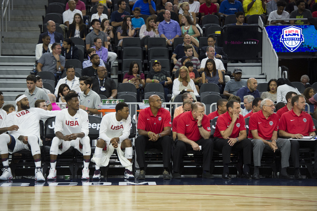 United States teammates and coaches watch the U.S. men's basketball team exhibition game versus Argentina on Friday, July 22, 2016 at T-Mobile Arena. (Bridget Bennett/Las Vegas Review-Journal) Fol ...