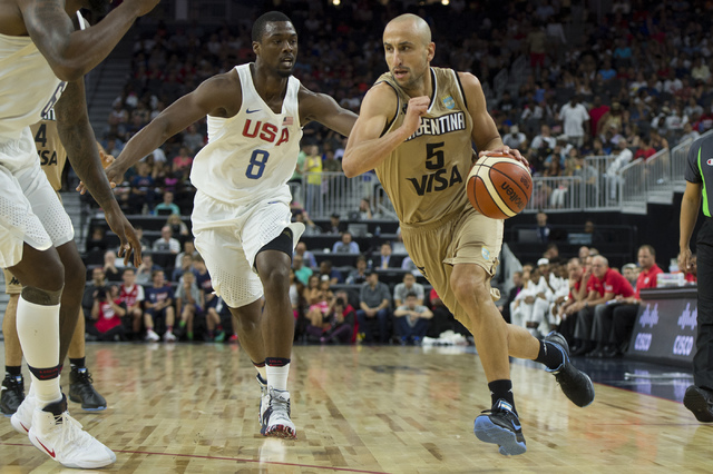 Argentina's Manu Ginobili handles the ball during a U.S. men's basketball team exhibition game versus Argentina on Friday, July 22, 2016 at T-Mobile Arena. (Bridget Bennett/Las Vegas Review-Journa ...