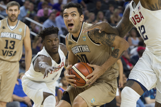 Argentina's Carlos Delfino handles the ball during a U.S. men's basketball team exhibition game versus Argentina on Friday, July 22, 2016 at T-Mobile Arena. (Bridget Bennett/Las Vegas Review-Journ ...