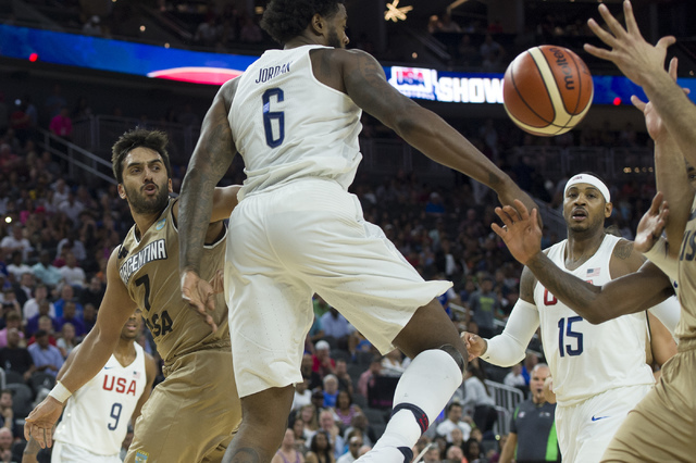 United States and Argentina fight for the ball during a U.S. men's basketball team exhibition game versus Argentina on Friday, July 22, 2016 at T-Mobile Arena. (Bridget Bennett/Las Vegas Review-Jo ...