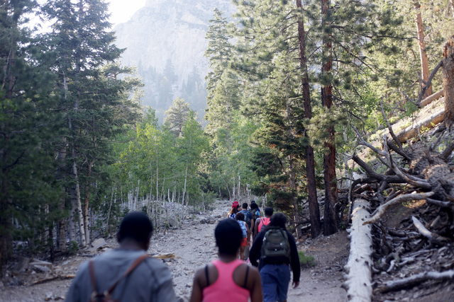 Members of Outdoor Afro hike the Mary Jane Falls Trail on Saturday, June 25, 2016 in Mount Charleston. Rachel Aston/Las Vegas Review-Journal Follow @rookie__rae