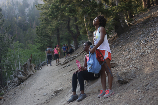 A.J., left, and Brittany Lewis take a rest break on the Mary Jane Falls Trail on Saturday, June 25, 2016 in Mount Charleston. Rachel Aston/Las Vegas Review-Journal Follow @rookie__rae