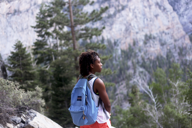 Brittany Lewis pauses during a hike on the Mary Jane Falls Trail on Saturday, June 25, 2016 in Mount Charleston. Rachel Aston/Las Vegas Review-Journal Follow @rookie__rae