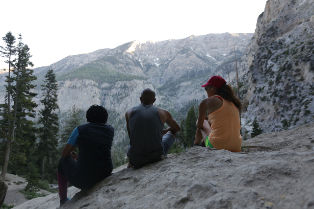Jaime Owens, from left, Andi Rucker, and Erica Tyler look at the view from Mary Jane Falls on Saturday, June 25, 2016 in Mount Charleston. Rachel Aston/Las Vegas Review-Journal Follow @rookie__rae