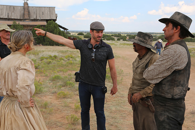 "Director JT Mollner on the set of the Western ""Outlaws and Angels."" Photo credit: Momentum Pictures"