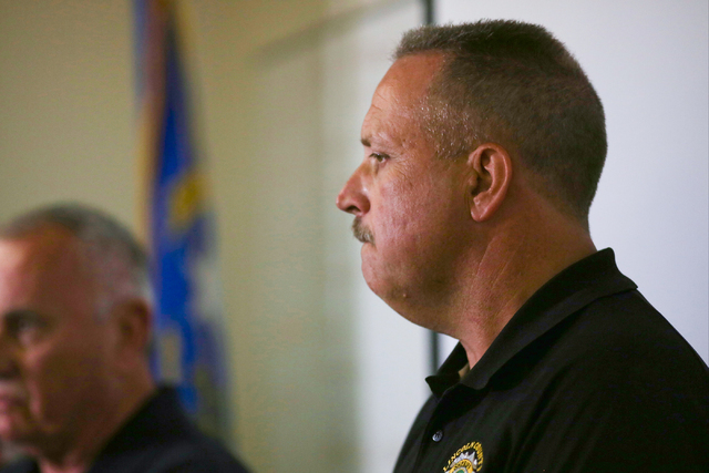 Lincoln County Sheriff Kerry Lee reacts during a briefing on Thursday, July 14, 2016, about a Wednesday night bombing that killed one person in Panaca, Nevada. Brett Le Blanc/Las Vegas Review-Jour ...