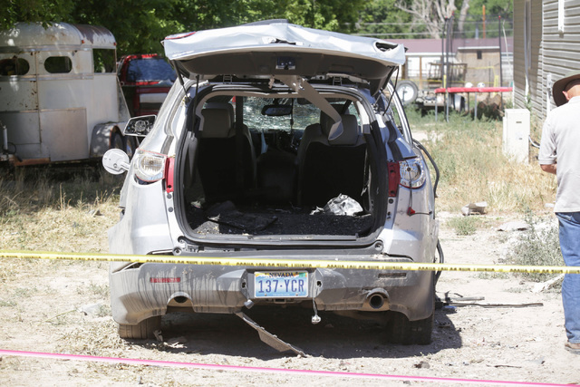 Damage to a car from the July 13 bombing that killed one person in Panaca, Nev., is seen on Friday, July 15, 2016. (Brett Le Blanc/Las Vegas Review-Journal Follow @bleblancphoto)