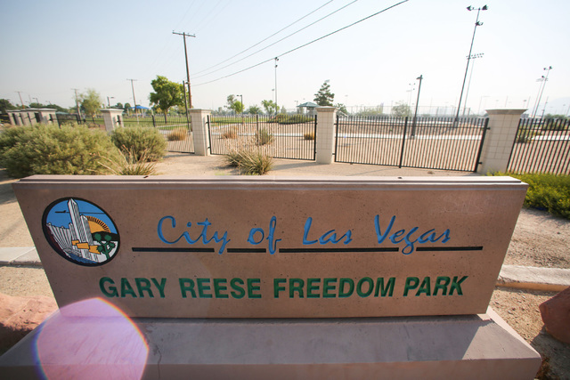 Las Vegas police say a shooting erupted when a man in a vehicle attempted to rob Pokemon Go players early Monday morning, July 25, 2016, in Gary Reese Freedom Park. (Brett Le Blanc/Las Vegas Revie ...