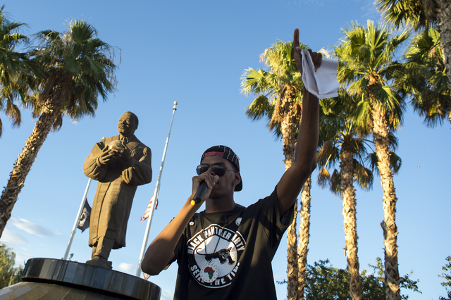 Organizer ғtretchӠSanders speaks to the crowd on the evening of Saturday, July 9, 2016 at Martin Luther King Boulevard and Carey Avenue in Las Vegas. (Bridget Bennett/Las Vegas Review- ...