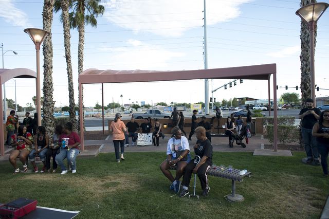 Demonstrators start to gather on Saturday, July 9, 2016, in Las Vegas at the intersection of Martin Luther King Boulevard and Carey Avenue. (Bridget Bennett/Las Vegas Review-Journal) Follow @bridg ...