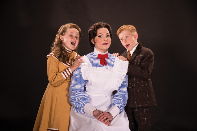 """""""Practically Perfect"""" nanny Mary Poppins (Elizabeth Broadhurst), center, works her magic on new charges Jane (Mila Belle Howells), left and Michael Banks (Andrew Barrick) in the Utah Shakespeare F ..."""