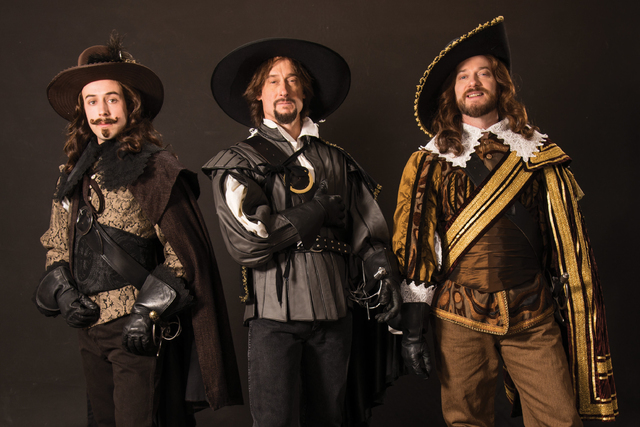 From left, Tasso Feldman as Aramis, J. Todd Adams as Athos, and Todd Denning as Porthos in the Utah Shakespeare Festival's 2016 production of The Three Musketeers. (Karl Hugh/Utah Shakespeare Fe ...