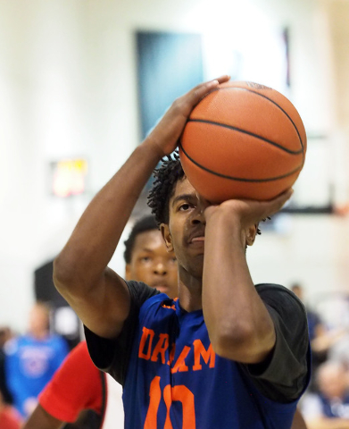 Team Vision's Christian Popoola, Jr., eyes the basket on a free throw at the Adidas Summer Championships basketball tournament in Las Vegas, Thursday, July 21, 2016. (Jerry Henkel/Las Vegas Review ...