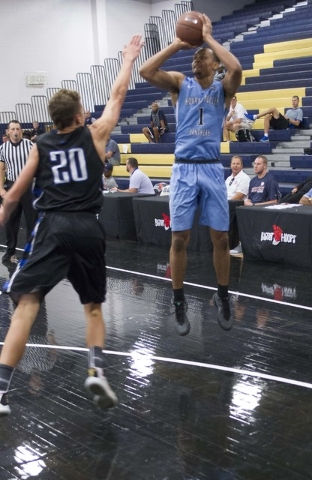Team Howard Pulley shooting guard Gary Trent Jr., right, (1) shoots against team UBC during the Las Vegas Classic AAU game at Spring Valley High School on Friday, July 22, 2016. (Richard Brian/Las ...