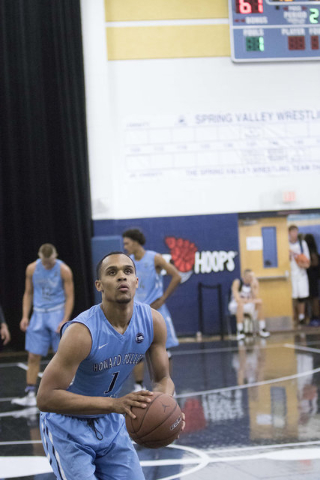 Team Howard Pulley shooting guard Gary Trent Jr. (1) goes for a shot against team UBC during the Las Vegas Classic AAU game at Spring Valley High School on Friday, July 22, 2016. (Richard Brian/La ...