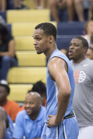 Team Howard Pulley shooting guard Gary Trent Jr. (1) is seen in play against team UBC during the Las Vegas Classic AAU game at Spring Valley High School on Friday, July 22, 2016. (Richard Brian/La ...