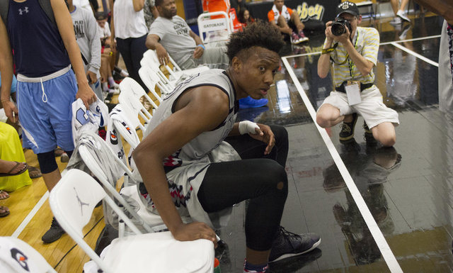 Team CP3 forward Wendell Carter is seen on a time out against team Mokan Elite during the championship game of The 8 Bracket in the Las Vegas Classic at Spring Valley High School on Friday, July 2 ...