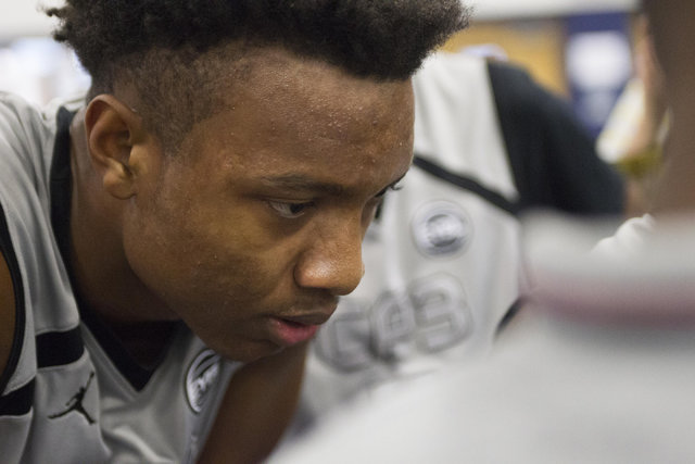 Team CP3 forward Wendell Carter listens in to coaches during the championship game of The 8 Bracket in the Las Vegas Classic at Spring Valley High School on Friday, July 22, 2016. Richard Brian/La ...