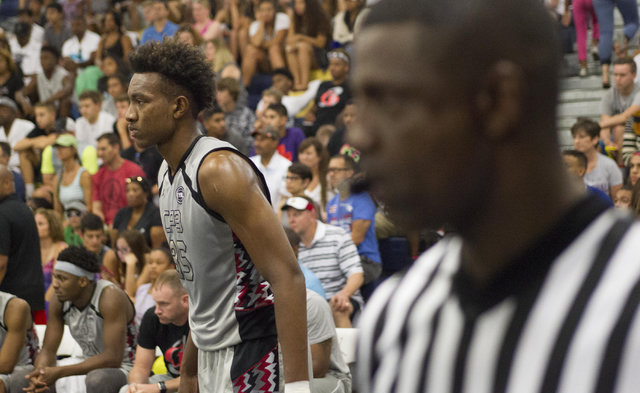 Team CP3 forward Wendell Carter, left, is seen during play against team Mokan Elite during the championship game of The 8 Bracket in the Las Vegas Classic at Spring Valley High School on Friday, J ...