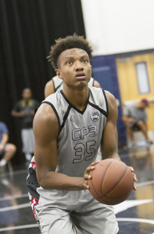 Team CP3 forward Wendell Carter (35) prepares for a free throw against team Mokan Elite during the championship game of The 8 Bracket in the Las Vegas Classic at Spring Valley High School on Frida ...