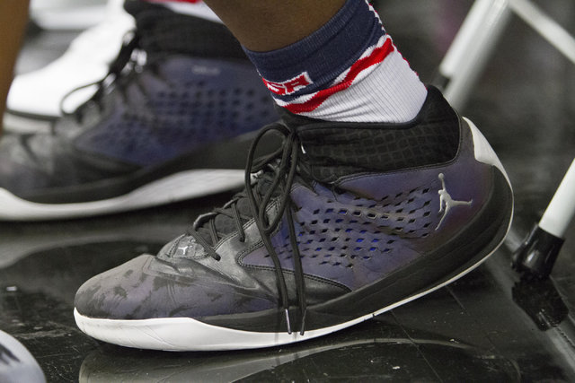 The size 18 shoe's of team CP3 forward Wendell Carter (35) are seen during the championship game of The 8 Bracket in the Las Vegas Classic at Spring Valley High School on Friday, July 22, 2016. Ri ...