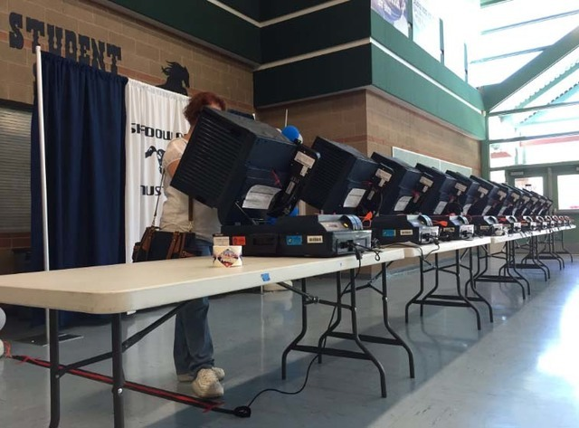An election site is pictured in this file photo. (Twitter/Alex Corey/Las Vegas Review-Journal)