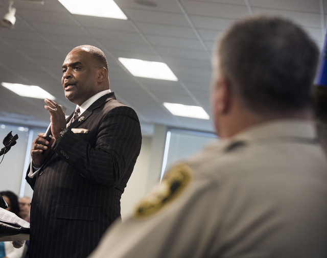Jon Ponder, founder and CEO of HOPE for Prisoners, speaks during graduation ceremony Friday, July 22, 2016, at LVMPD Headquarters, 400 S Martin Luther King Blvd. Twenty-six people graduated in the ...