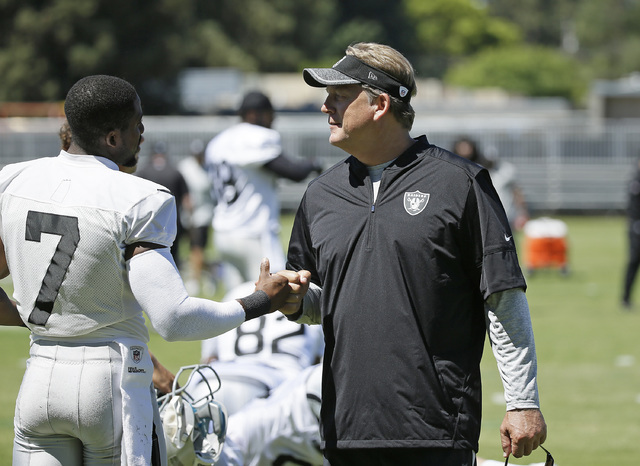 Oakland Raiders head coach Jack Del Rio, right, greets punter Marquette King during practice at the NFL football team's training camp Friday, July 29, 2016, in Napa, Calif. (AP Photo/Eric Risberg)