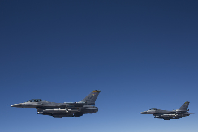 F-16Cs from the 79th Fighter Squadron fly in formation over Southern Nevada during a Red Flag exercise on Wednesday, July 20, 2016. (Brett Le Blanc/Las Vegas Review-Journal) Follow @bleblancphoto
